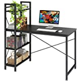 4NM Industrial Computer Desk with 4-Tier Bookcase, 47.24 inches Home Office Desk Writing Workstation Study Table…