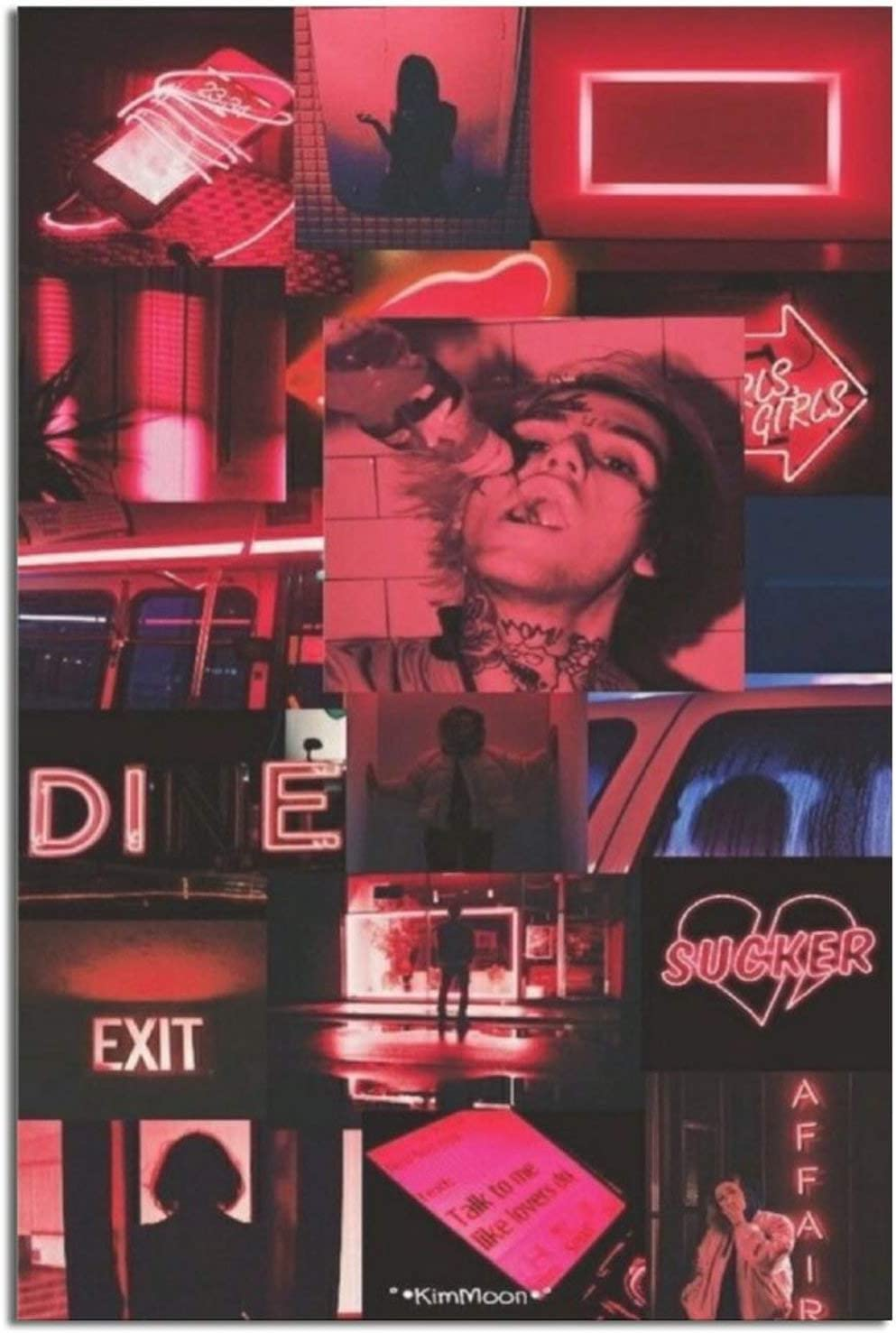 ZeroKaata Lil PEEP NIGHTWAVE Club Life Collage Poster Print Canvas Wall Art Home Decor Painting for Bedroom Living Room Unframe-style1 8×12inchs(20×30cm)