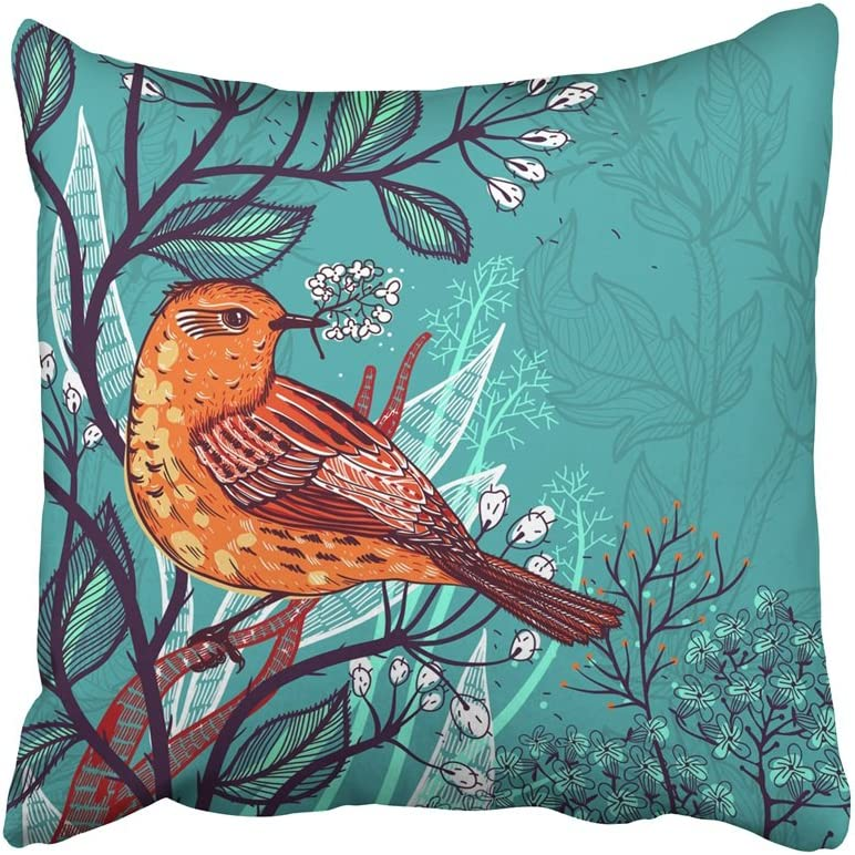 Emvency Decorative Throw Pillow Covers Cases Flower Of Orange Bird And Wild Plants Sketch Vintage Forest Herbal Artistic Beauty Bloom 18x18 Inches Pillowcases Case Cover Cushion Two Sided Home Kitchen