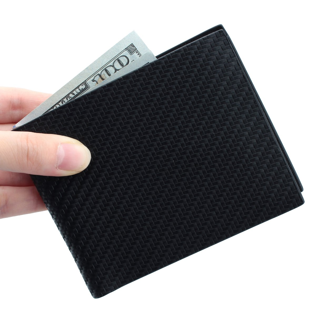 RFID Blocking Bifold Leather Wallet for Men - Best Gifts for Business Anniversary (Black Carbon Fiber)