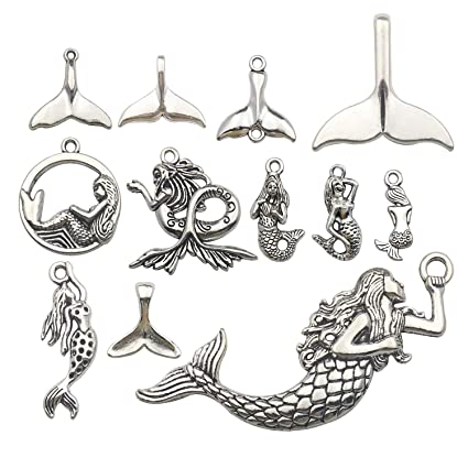 0628bf5785427 Youdiyla 48pcs Mermaid Charms Collection, Antique Silver Tone, Mermaid Tail  Charms Metal Pendant Craft Supplies Findings for Necklace and Bracelet ...