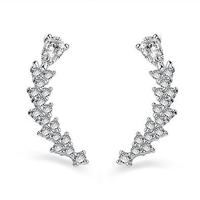 24495741c Peficecy Sterling Silver Clear Cubic Zirconia Sweep Ear Vine Stud Earrings  (White): Amazon.co.uk: Jewellery