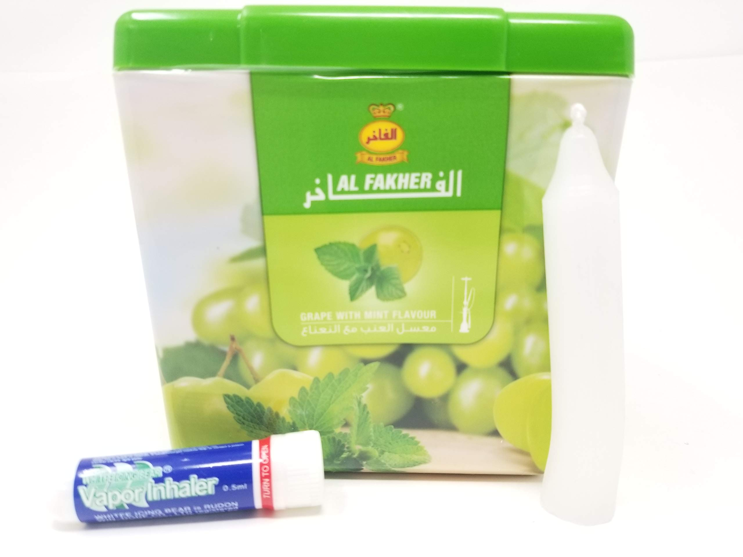 1 Kg. Al Fakher Shisha Molasses - Non Tobacco Grape with Mint Flavour Hookah Water Pipe Sold by SuperStore77 with Trademark Candle and Vapor Inhaler