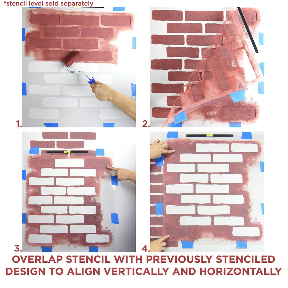 Brick allover stencil wall pattern diy wall decor wallpaper brick allover stencil wall pattern diy wall decor wallpaper alternative amazon amipublicfo Images