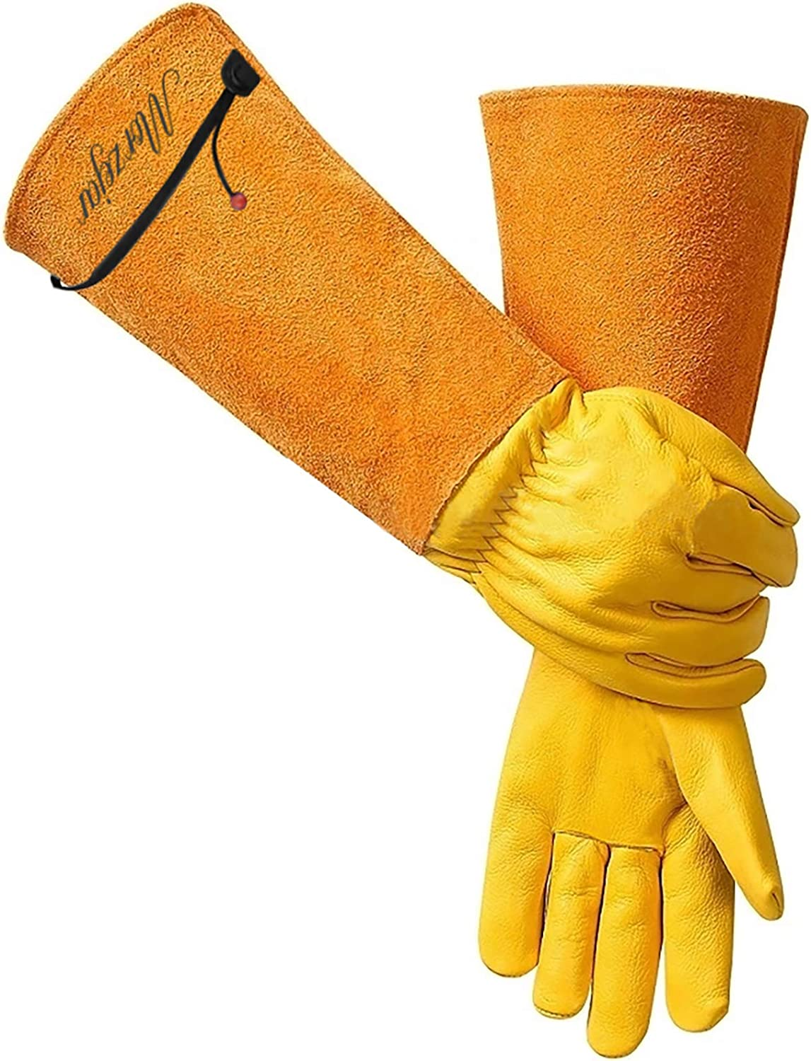Gardening Gifts - Gardening Work Gauntlet Gloves for Men/Women Legacy Leather Thornproof Long Rose Pruning Gloves with Adjustable Cuff Lawn Gardener Supplies Tools Gifts
