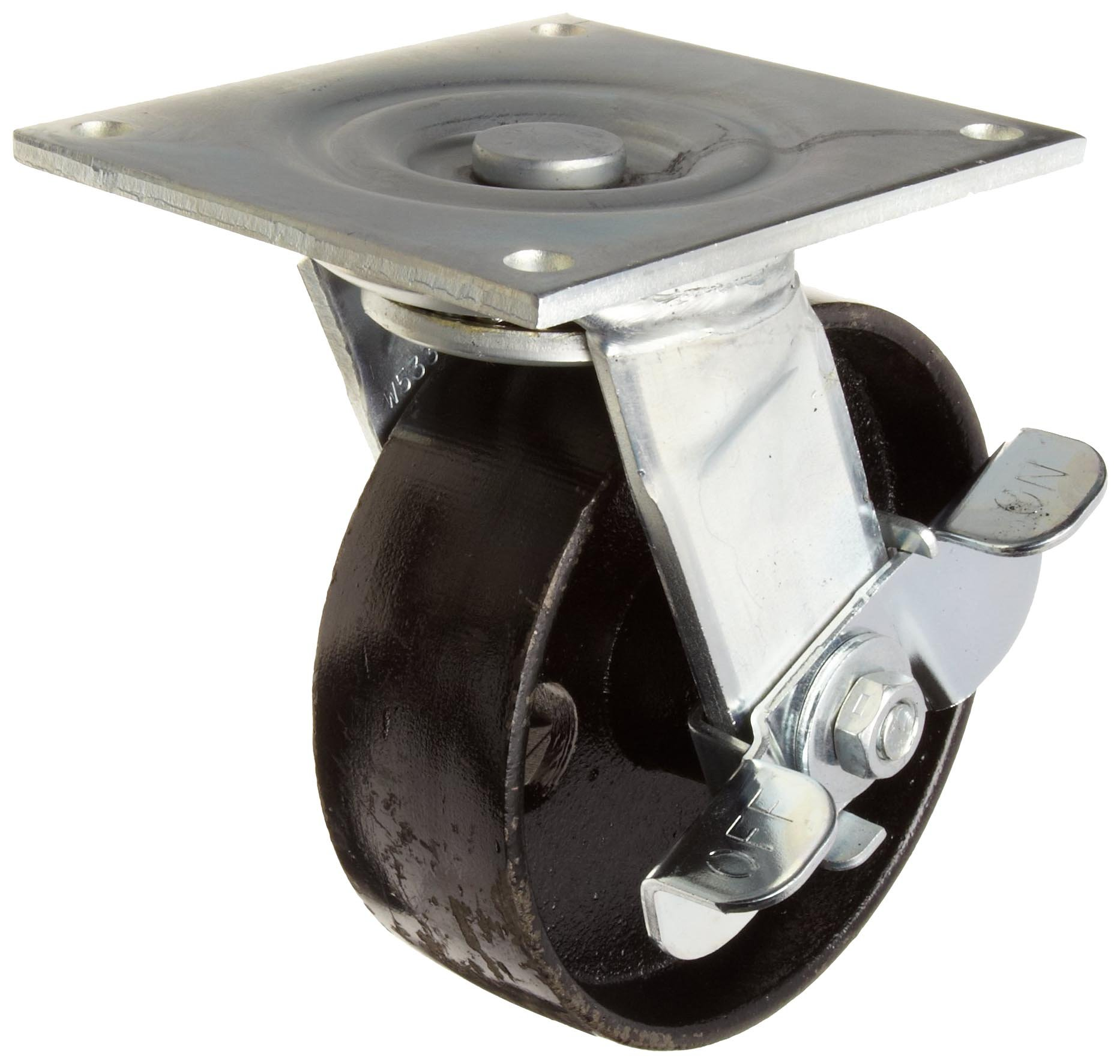 E.R. Wagner Plate Caster, Swivel with Pinch Brake, Polyurethane on Aluminum Wheel, Roller Bearing, 1200 lbs Capacity, 6'' Wheel Dia, 2'' Wheel Width, 7-1/2'' Mount Height, 4-5/8'' Plate Length, 4'' Plate Width