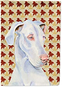 Caroline's Treasures LH9086GF Great Dane Fall Leaves Portrait Flag Garden Size, Small, Multicolor