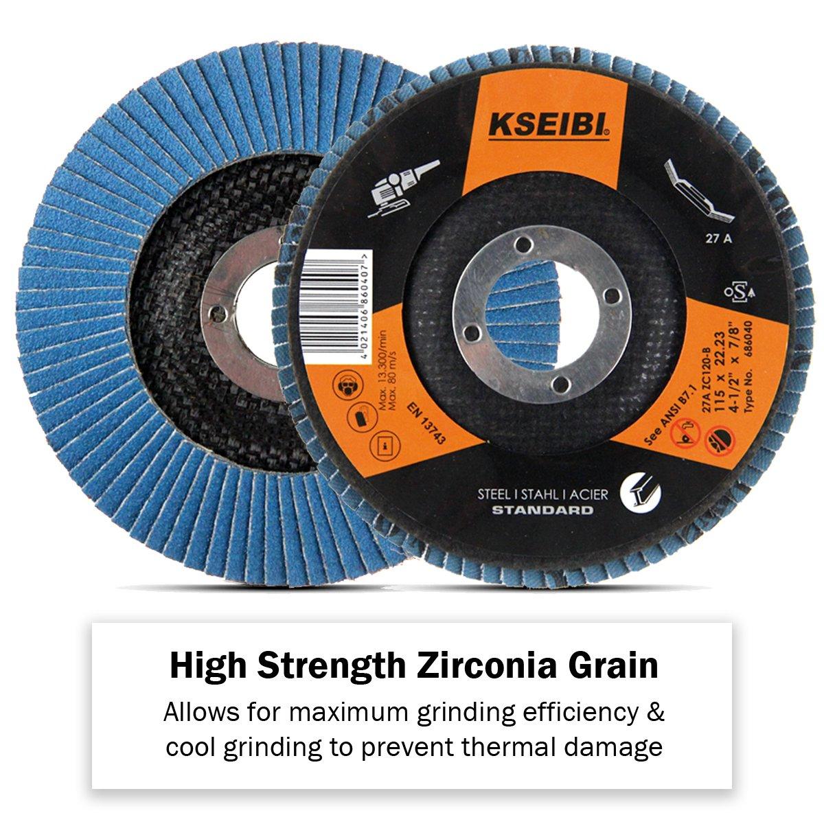KSEIBI Zirconia Corundum 4 1/2 Inch Flap Disc Sanding Grinding Wheel (Grit #40, Blue) by KSEIBI (Image #2)