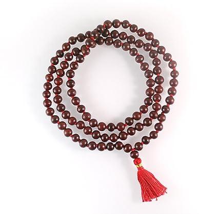 buycrafty rojo Tulsi Holy Basil Japa Mala 108 Cuentas Oración Collar. Bendición Y Energía 108