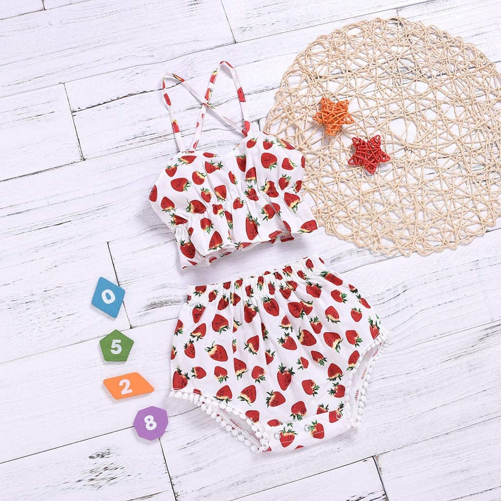 NIHAI Little Girls Clothes Set Baby Strawberry Print Cross Shoulder Strap Sling Triangle Shorts 2PC Set