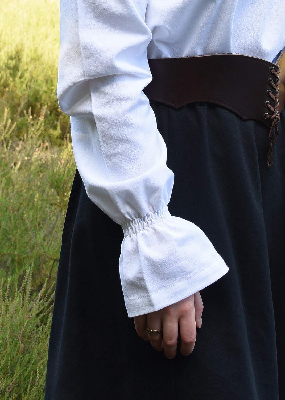 Blusa de Estilo Medieval con Cuello de Barco Algod/ón Natural//Blanco//Negro S/-/XXL Manga Larga