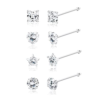 Body Jewellery Sllaiss 8pcs 22g Sterling Silver Tiny Nose Studs