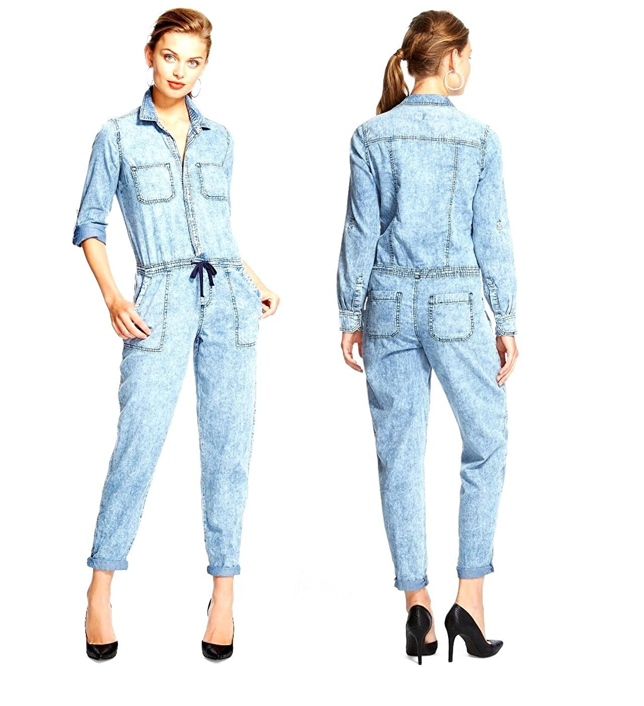 dollhouse Womens Roll Sleeve Drawstring Waist Light Denim Blue Jumpsuit Rompers VP-7113TG