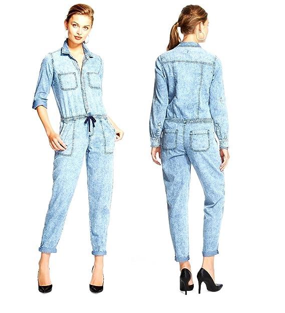 bfc557e3a87f Amazon.com  dollhouse Womens Roll Sleeve Drawstring Waist Light Denim Blue Jumpsuit  Rompers  Clothing