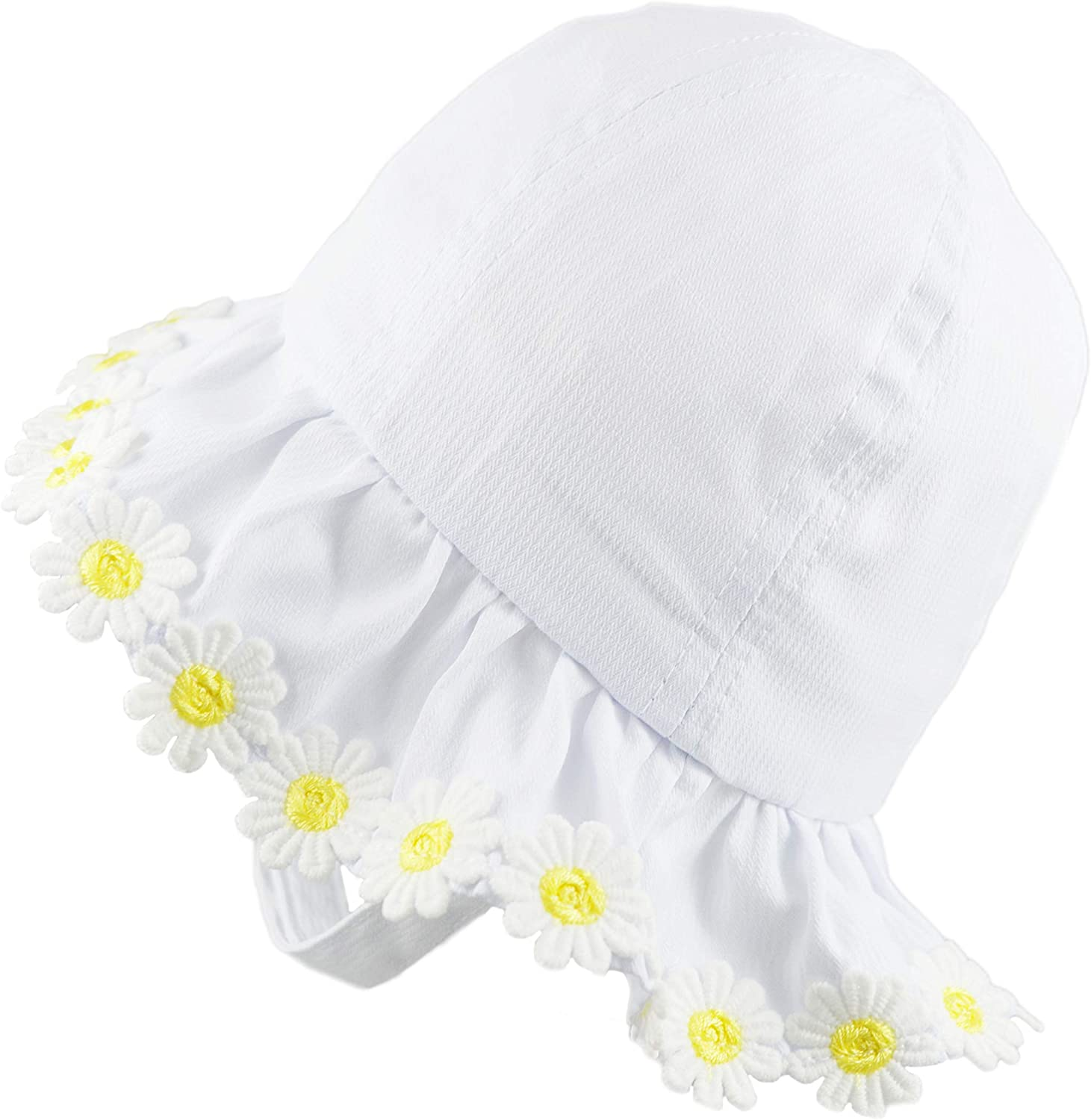 Pesci Baby Girls Bucket Sun Hats with Chin Strap Summer Hat with Frilly Brim Daisy Flowers