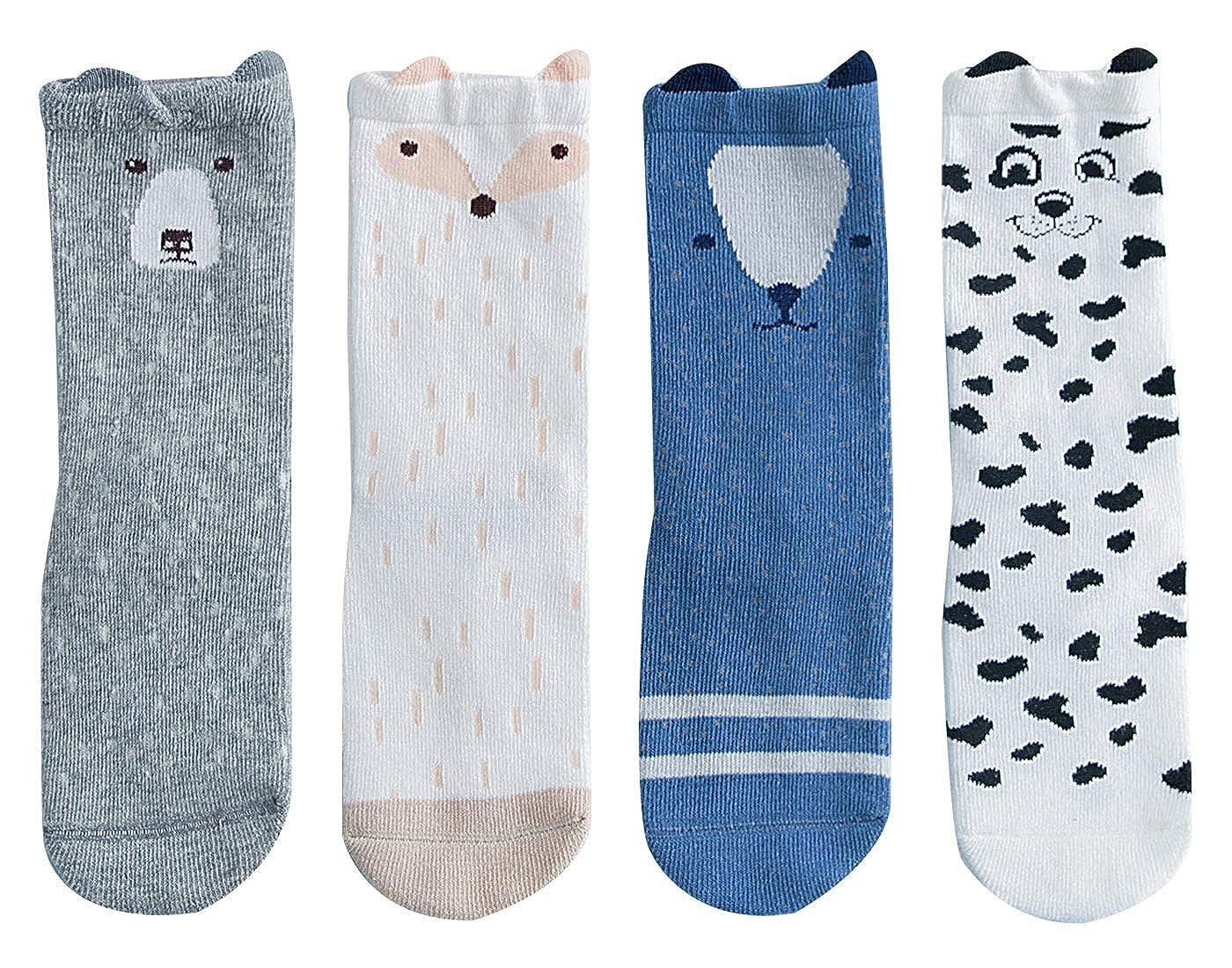 HAPPY CHERRY 4 Paar Baby Jungen M/ädchen Socken Set Atmungsaktiv Baumwolle Kindersocken Elastische Babysocken Lieblich Cartoon Str/ümpfe 1-5 Jahren