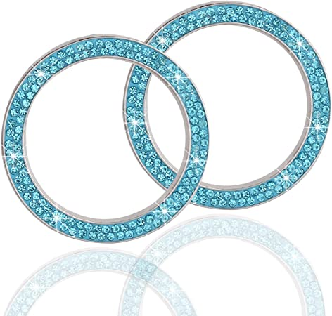 LivTee 2 PCS Crystal Double Rhinestone Car Engine Start Stop Decoration Ring, Bling car Accessories, Push to Start Button, Key Ignition & Knob Bling Ring, Cyan