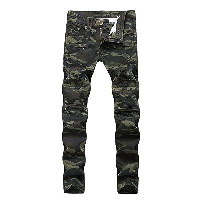 b02a4dd56b9 Men s Premium Camouflage Straight Fit Biker Zipped Workwear Jeans Pants