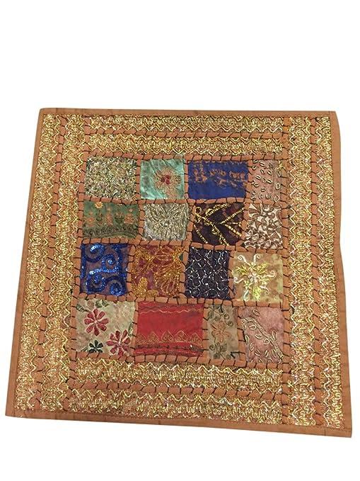 Mogul interior indio cojín patchwork color marrón bordado ...