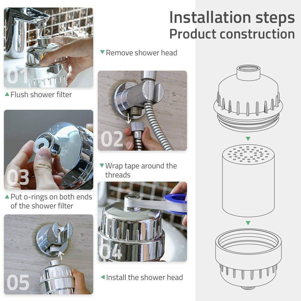 Shower Head Filter Designed to Remove Heavy Metals /& Water Impurities Includes 1 Extra Filter 15 Stage Shower Filter for Hard Water /& Chlorine Softener Activated Carbon Technology 1 Hair Catcher