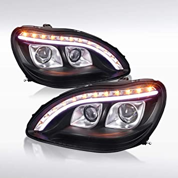 DNA MOTORING HL-HPL-LED-W22000-BK Halo Projector LED Headlight Driver Passenger Side for W220 S-Class