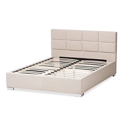 Amazon.com: Modern Upholstered Platform Bed, Wooden Frame and 100 ...