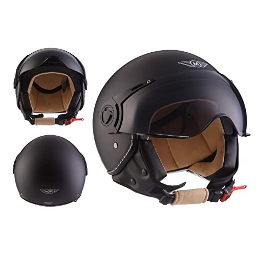 Moto Helmets H44 Bobber Vintage Chopper Demi-Jet Helmet Scooter Chopper Pilot Retro Biker Vespa Moto Mofa Casque Jet Cruiser, Noir Mat, XL (61-62cm)