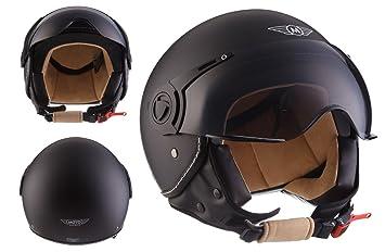 Moto Helmets H44 - Helmet Casco de Moto , Negro Matte, M (57-