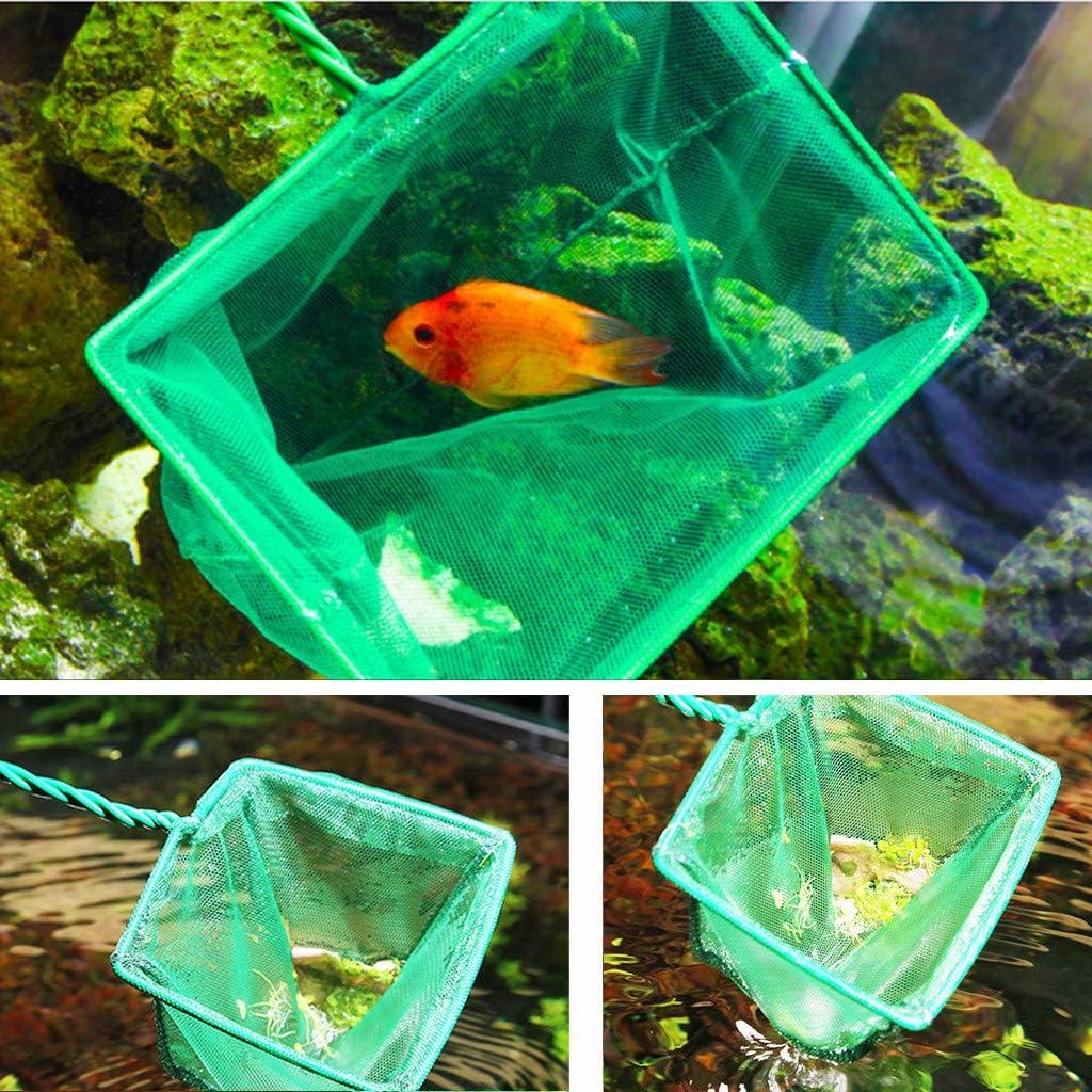 Green YueLove Fish Tank Net Aquarium Net Fine Mesh Fish Catch Net Aquarium Tools with Plastic Handle
