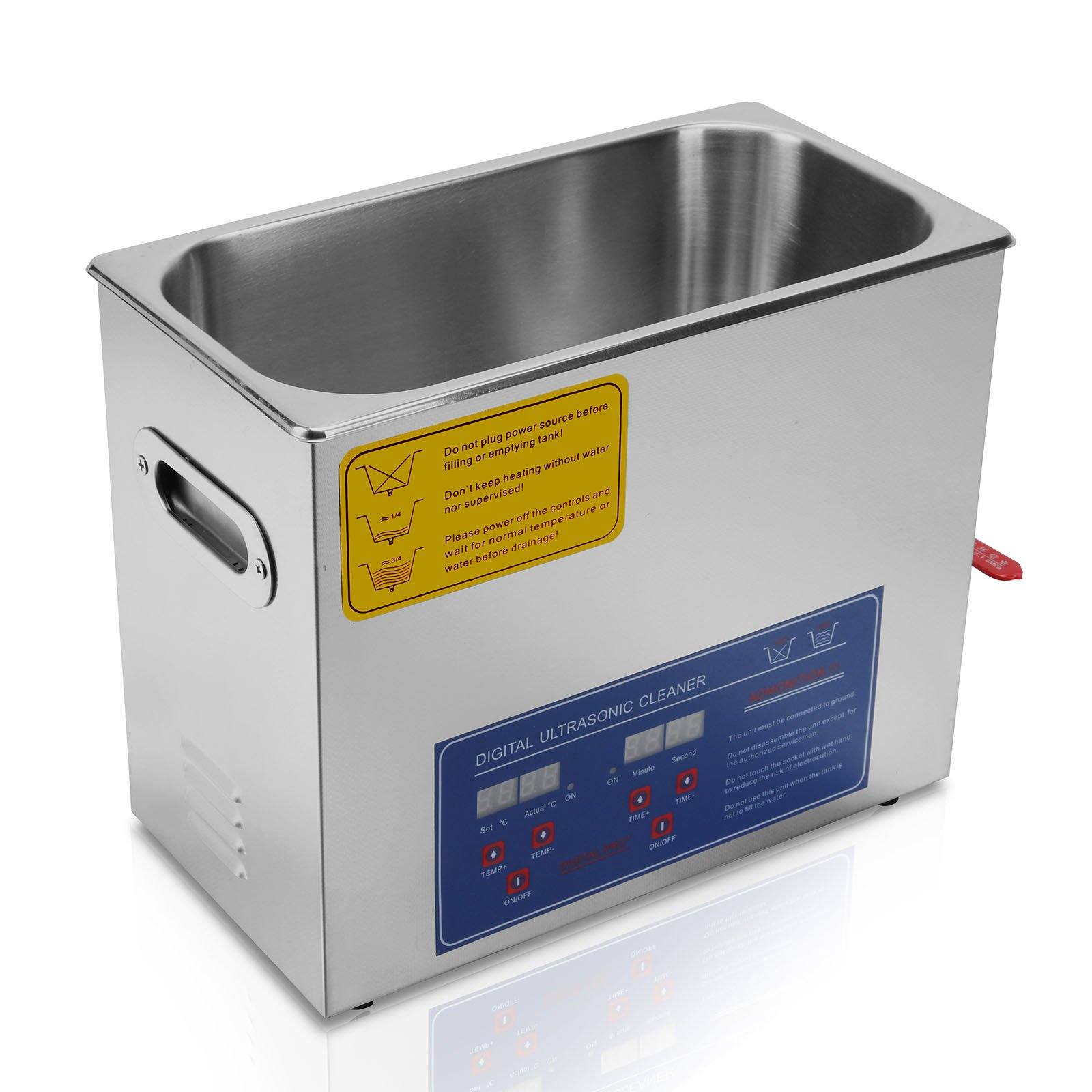 OrangeA Ultrasonic Cleaner Ultrasonic Cleaner Solution Heated Ultrasonic Cleaner 6L for Jewelry Watch Cleaning Industry Heated Heater with Drainage System (6 Liter) by OrangeA (Image #5)