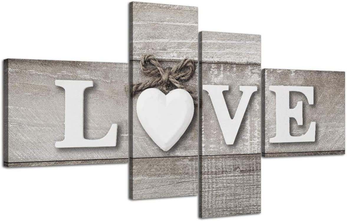 Large Shabby Chic Love Quote - Grey Canvas wall Art Prints - Multi 4 Part - 4297 Wallfillers