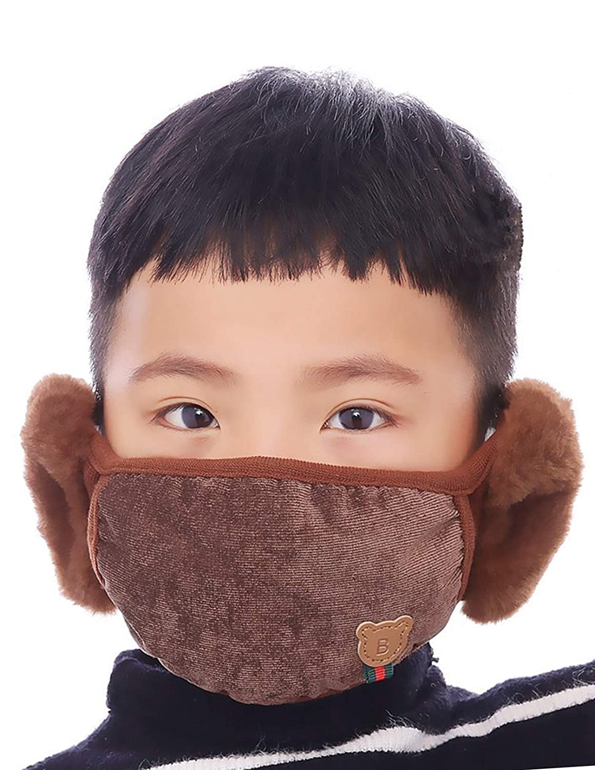 Kids Outdoor Windproof Thick Face Mask with Earmuff Warm Cotton Mouth Muff