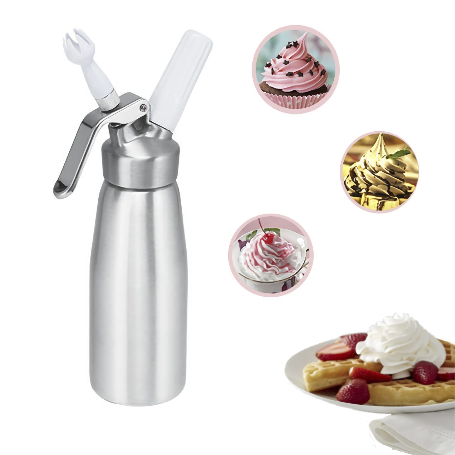 Professional Whipped Cream Dispenser Whip Culinary cream maker high strength aluminum alloy 0.5L with 3 Decorating tips and Cleaning Brush