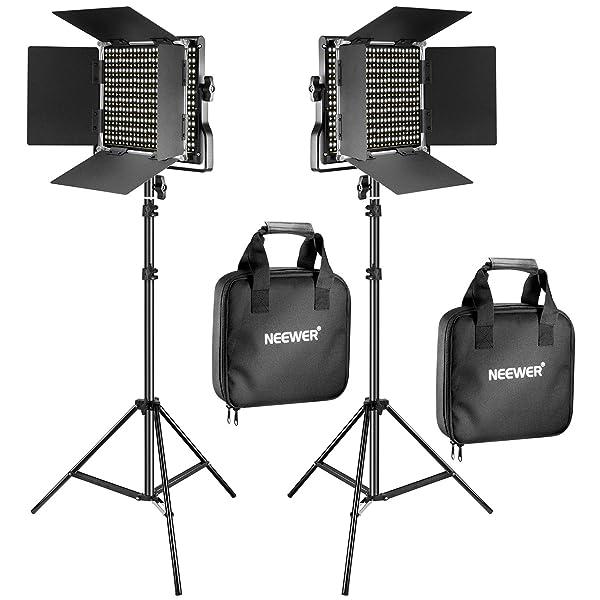 EL KIT DE LUCES DE VIDEO Y SOPORTE LED BICOLOR DE 6 PIEZAS DE NEEWER incluye: (2) 3200-5600K CRI 96 luz regulable con soporte en U y Barndoor y (2) soporte de luz de 75 pulgadas para fotografía de estudio, filmación de video