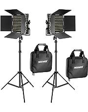 Neewer 2 Pack Bi-Color 660 LED de Luz de Vídeo y Kit de Soporte Incluye: (2) 3200-5600K CRI 96 + Regulable Luz con Soporte en U y Barndoor, (2) 200 Centímetros Soporte de Luz