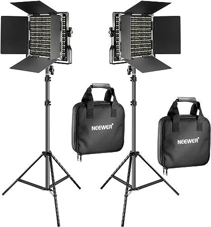 Neewer 2 Pack Bi-Color 660 LED de Luz de Vídeo y Kit de Soporte Incluye: (2) 3200-5600K CRI 96 + Regulable Luz con Soporte en U y Barndoor, (2) 200 Centímetros Soporte de Luz: Amazon.es: Electrónica