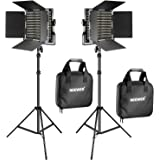 Neewer 2 Pieces Bi-color 660 LED Video Light and Stand Kit Includes:(2)3200-5600K CRI 96+ Dimmable Light with U Bracket and B