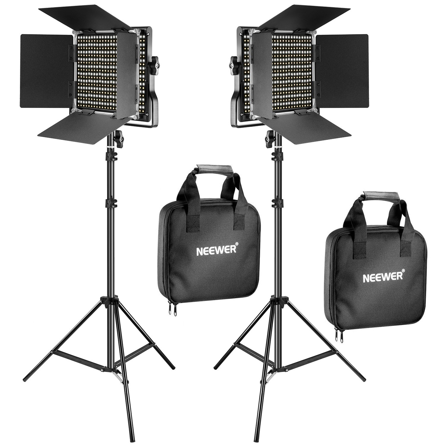 Neewer 2 Pieces Bi-color 660 LED Video Light and Stand Kit Includes:(2)3200-5600K CRI 96+ Dimmable Light with U Bracket and Barndoor and (2)75 inches Light Stand for Studio Photography, Video Shooting by Neewer