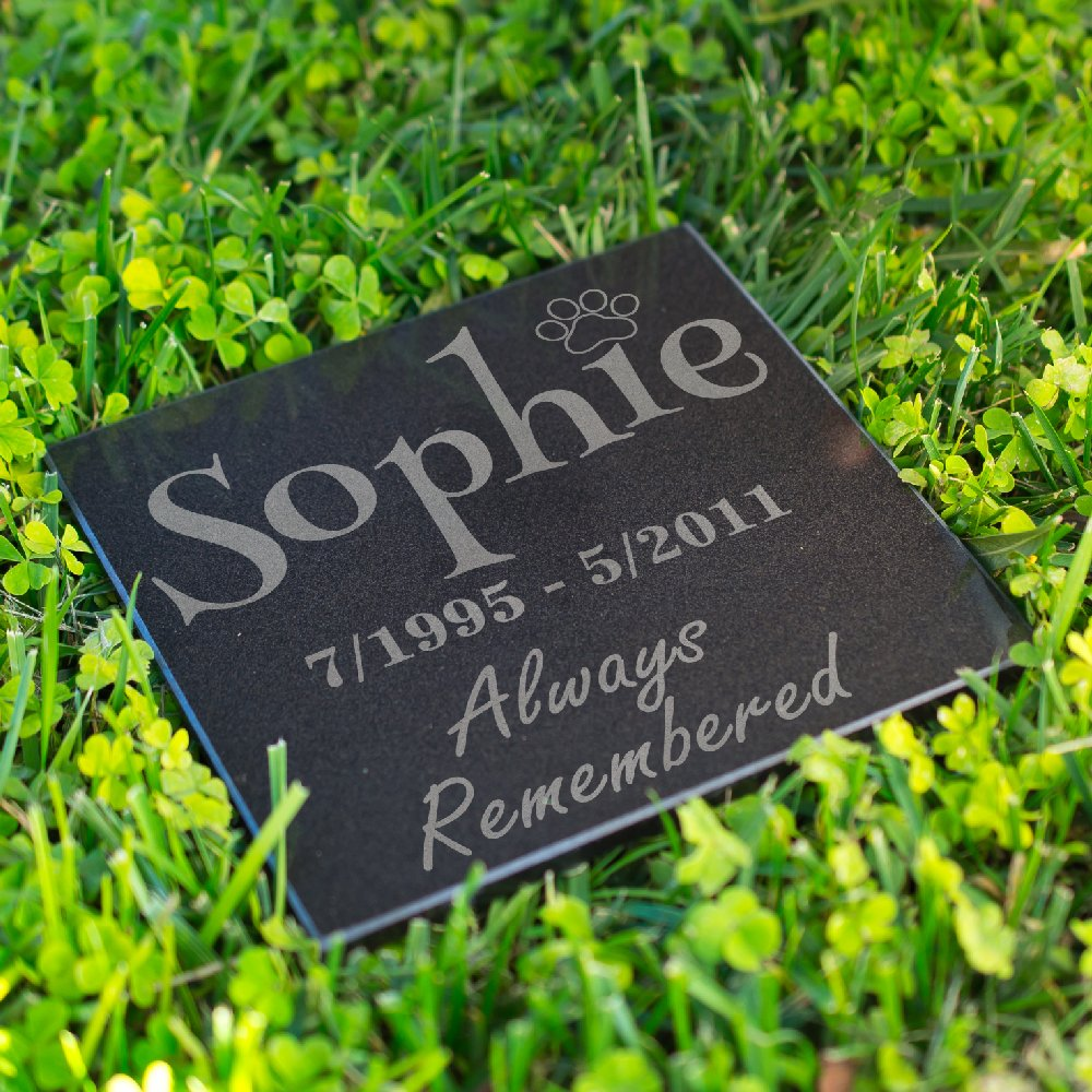 Personalized Dog Memorial Customized Dog Grave Marker Custom Headstone - DSG#9 - Aged Granite