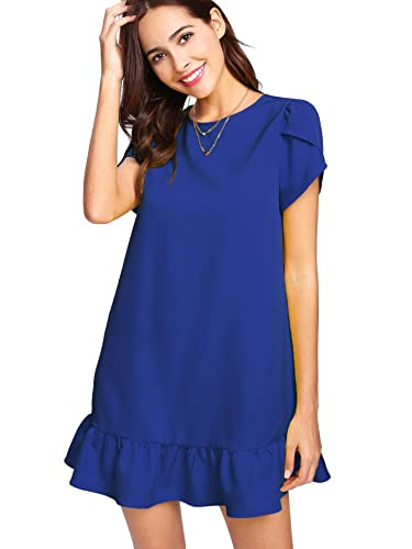 Verdusa Women's Round Neck Petal Short Sleeve Ruffle Hem Tunic Dress Blue M