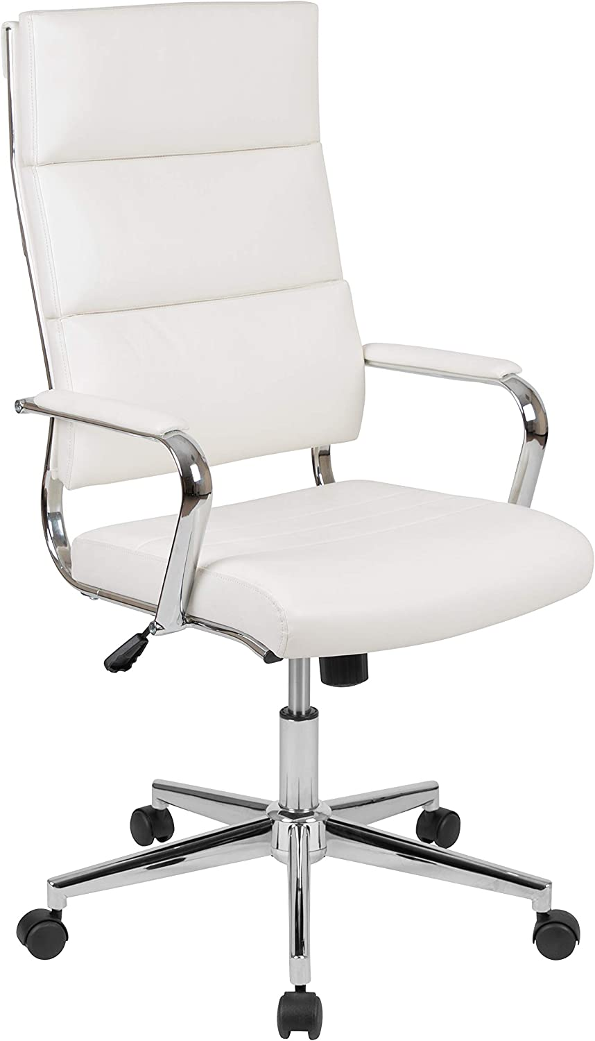 Flash Furniture High Back White LeatherSoft Contemporary Panel Executive Swivel Office Chair