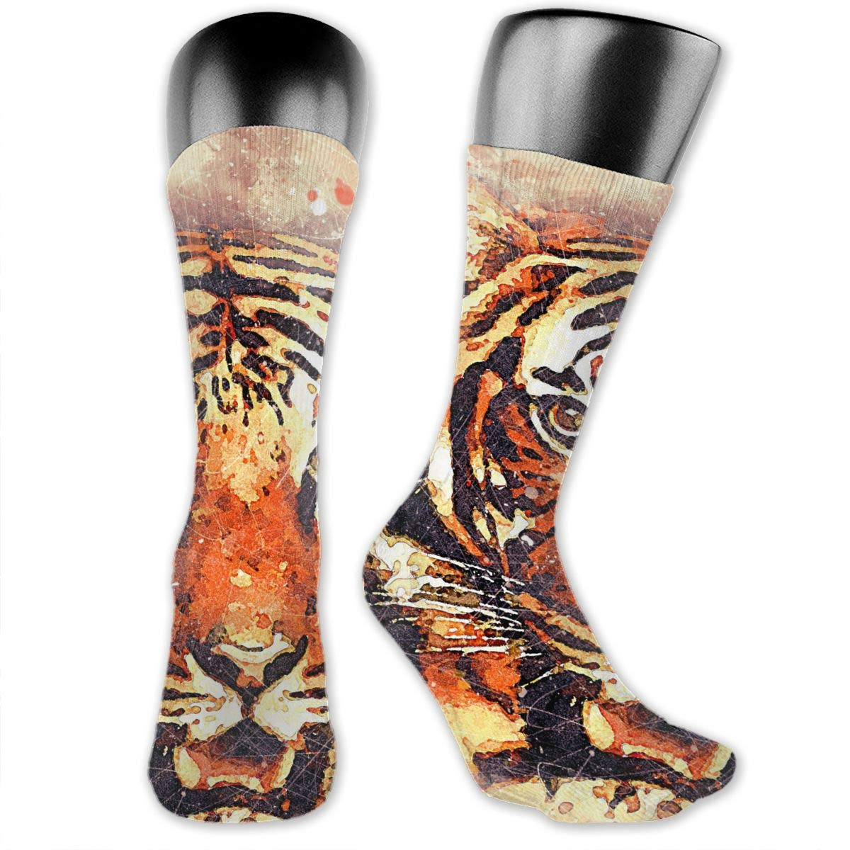 OLGCZM Tiger Face Watercolor Painting Men Womens Thin High Ankle Casual Socks Fit Outdoor Hiking Trail