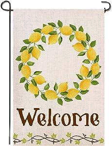 Shmbada Lemon Summer Welcome Burlap Garden Flag, Premium Material Double Sided, Seasonal Spring Outdoor Decorative Flags for Yard Lawn, 12 x 18 inch