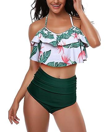 3ba6e1c890 Pxmoda Women One Piece Leaf Print Swimsuit Back Bandage Padded Bikini  Monokini Swimwear (S,