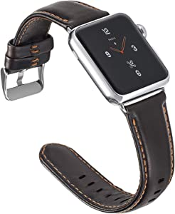 ALADRS Genuine Leather Watch Straps Compatible with Apple Watch Band 42mm 44mm, Wristbands Replacement for iWatch Series 6 5 4, SE (44mm) Series 3 2 1 (42mm), Coffee