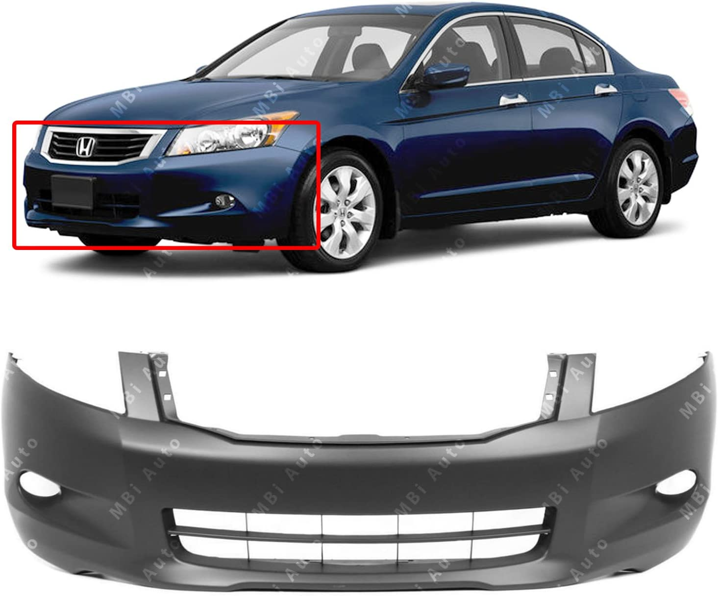 Front Bumper Cover for 2008-2010 Honda Accord V6 w// Fog NEW Painted To Match