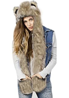 3 in 1 Cartoon Full Animal Winter Warm Soft Faux Rabbit Fur Hoodie Hat with Ear