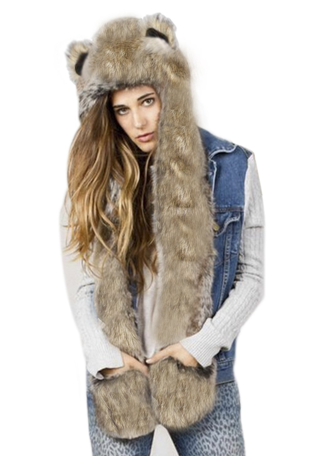 a1d749ffc 3 in 1 Cartoon Full Animal Faux Fur Hood Hoods with Ear Flaps Scarf Spirit  Paws Mittens Gloves Set Cute Anime Furry Hoodie Hat with Pocket Gloves ...