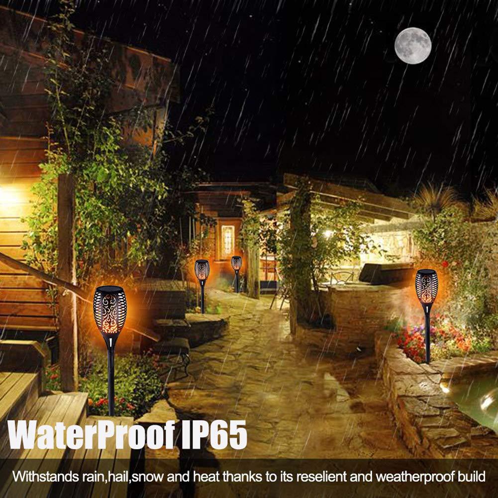 Swonuk 4 St/ück Solarleuchte Garten IP65 wasserdicht Solarlampe Gartenfackeln mit realistischen Flammen Automatische EIN//Aus Au/ßen warmlicht Solar Flammenlicht