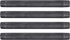 """Pipe Decor 3/4"""" x 10"""" Malleable Cast Iron Pipe, Pre Cut, Industrial Steel Grey Fits Standard Three Quarter Inch Black Threaded Pipes Nipples and Fittings, Build Vintage DIY Furniture, 4 Pack"""